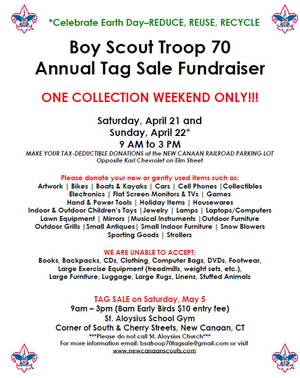 Boy Scout Tag Sale 5.5.2018 New Canaan CT